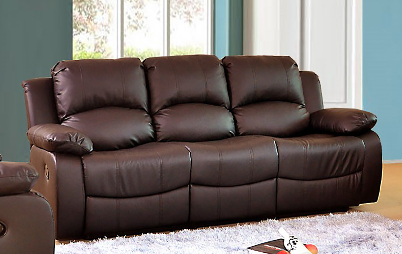 Valencia 3 Seater Bonded Leather Recliner Sofa Glossy