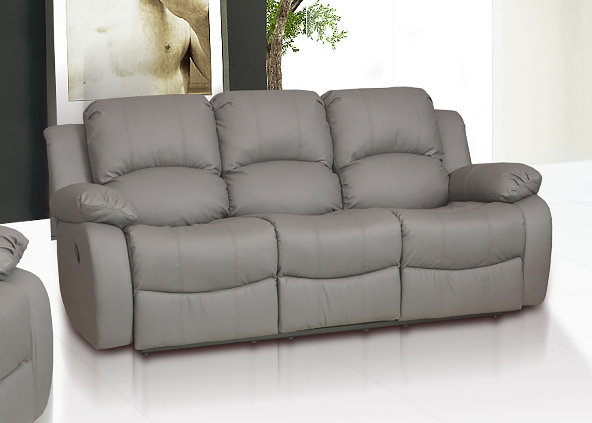 Valencia 3 1 leather recliner sofa suite grey for Grey leather sectional sofa with recliners