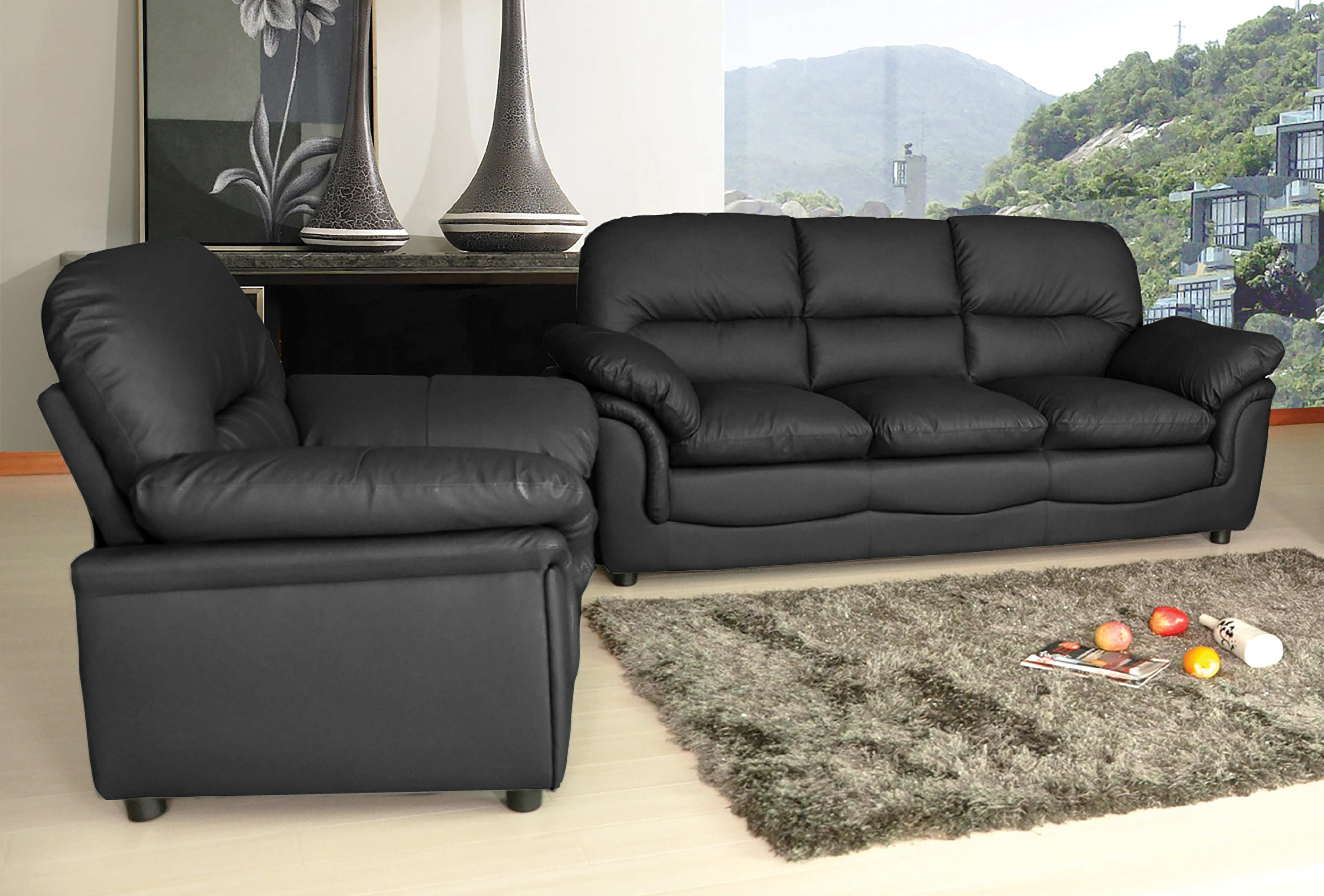 new modern verona bonded leather sofa suite in black brown cream