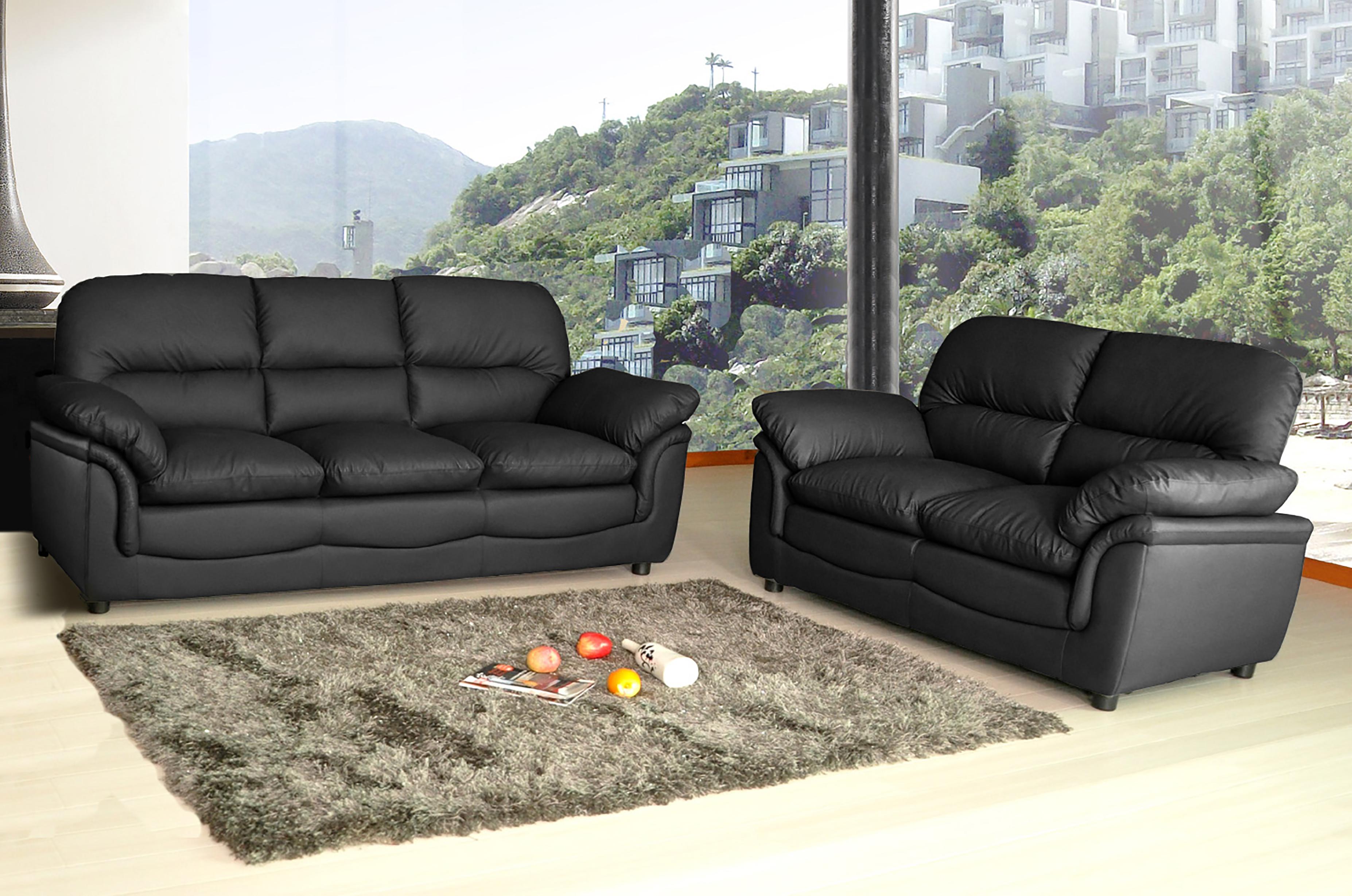 New Modern Verona Bonded Leather Sofa Suite In Black