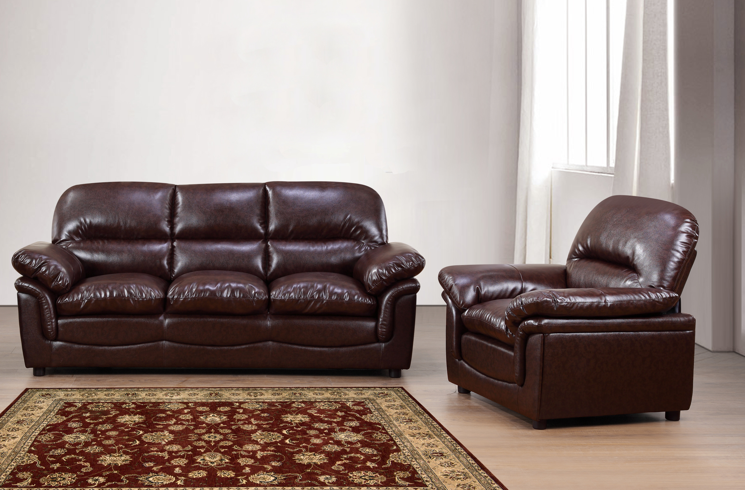New Modern Verona Bonded Leather Sofa Suite In